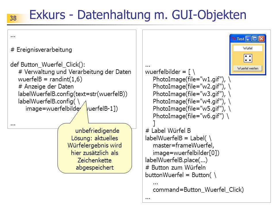 Exkurs - Datenhaltung m. GUI-Objekten
