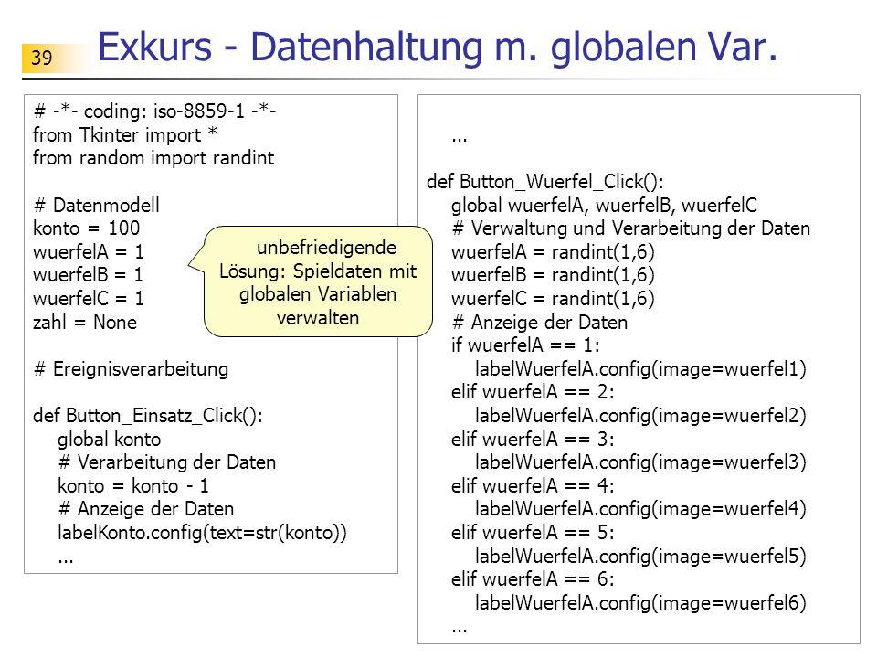 Exkurs - Datenhaltung m. globalen Var.
