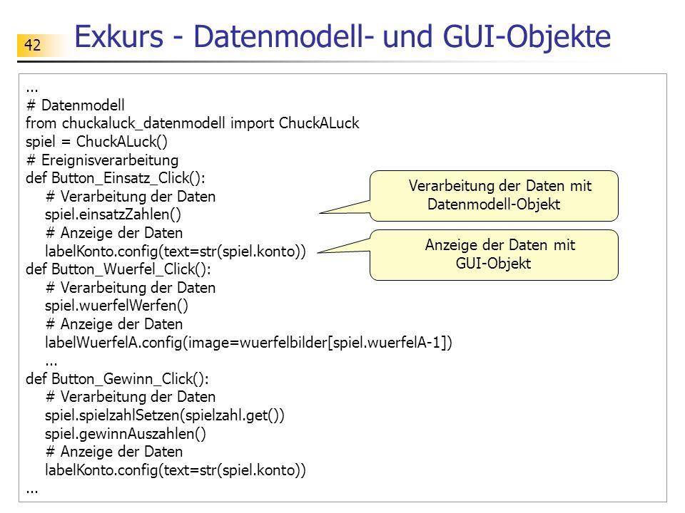 Exkurs - Datenmodell- und GUI-Objekte