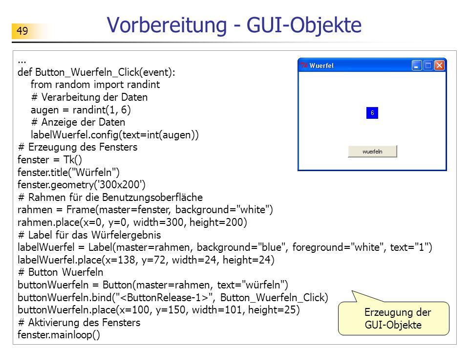 Vorbereitung - GUI-Objekte