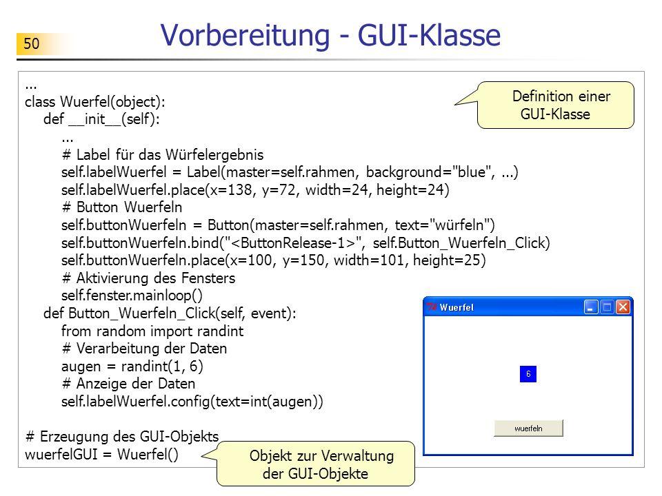 Vorbereitung - GUI-Klasse
