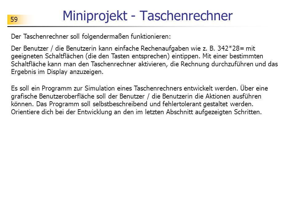 Miniprojekt - Taschenrechner