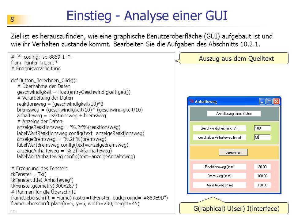 Einstieg - Analyse einer GUI