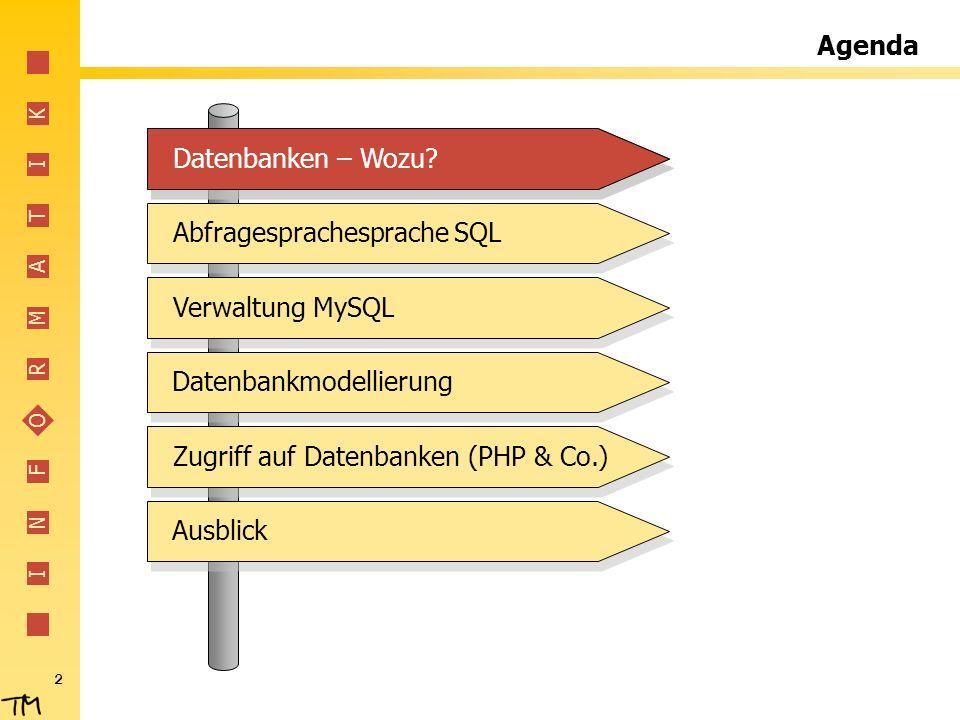 Agenda Datenbanken – Wozu Datenbanken – Wozu Abfragesprachesprache SQL. Verwaltung MySQL. Datenbankmodellierung.
