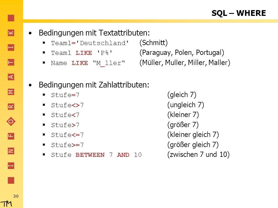 Bedingungen mit Textattributen: