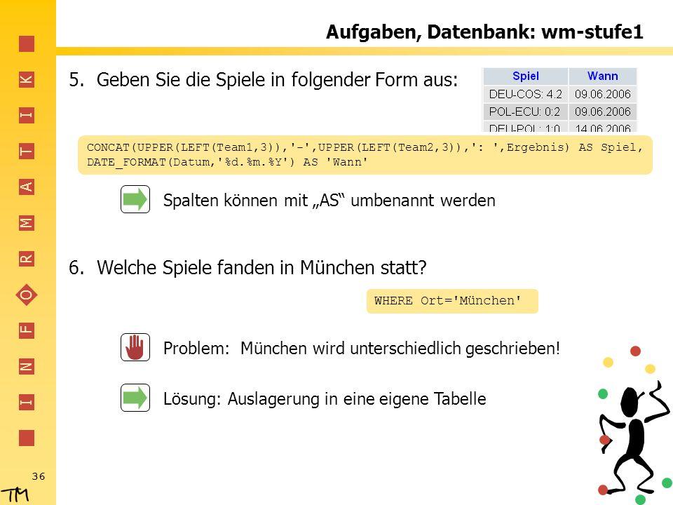 Aufgaben, Datenbank: wm-stufe1