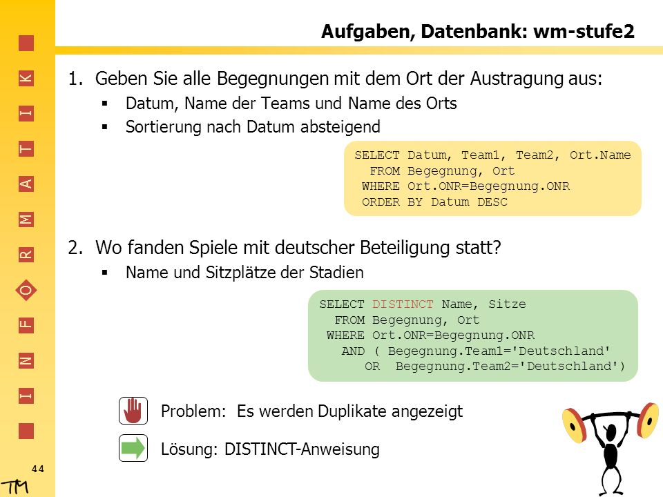 Aufgaben, Datenbank: wm-stufe2