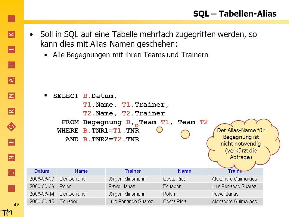 SQL – Tabellen-Alias Soll in SQL auf eine Tabelle mehrfach zugegriffen werden, so kann dies mit Alias-Namen geschehen: