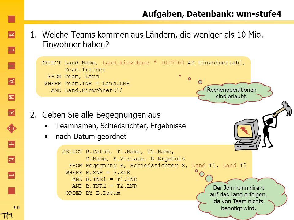 Aufgaben, Datenbank: wm-stufe4