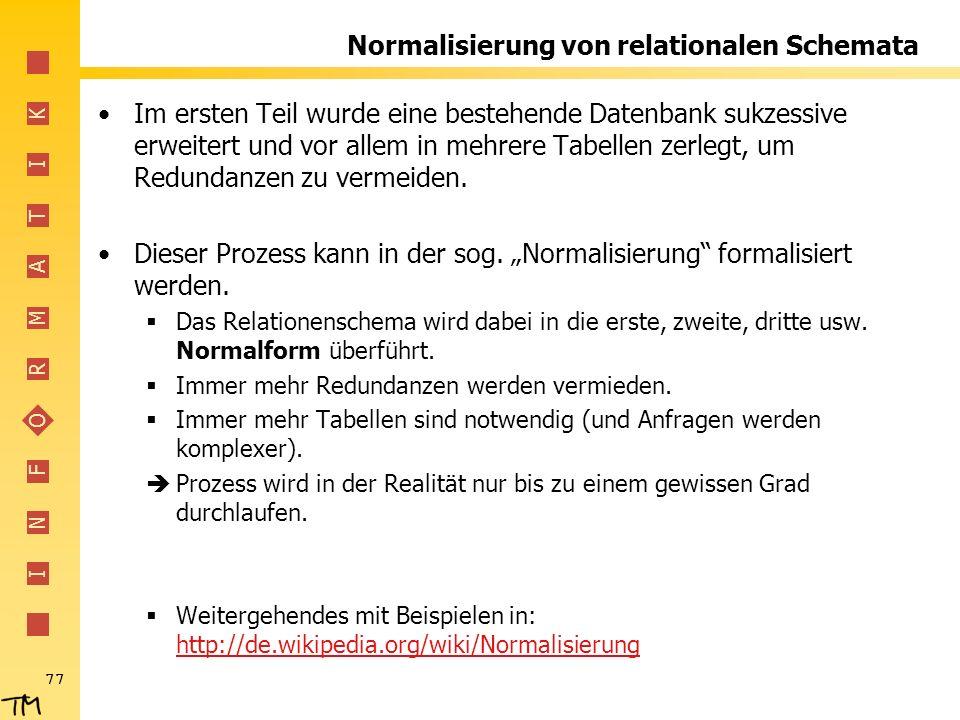 Normalisierung von relationalen Schemata