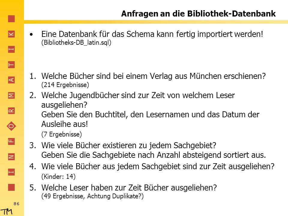 Anfragen an die Bibliothek-Datenbank
