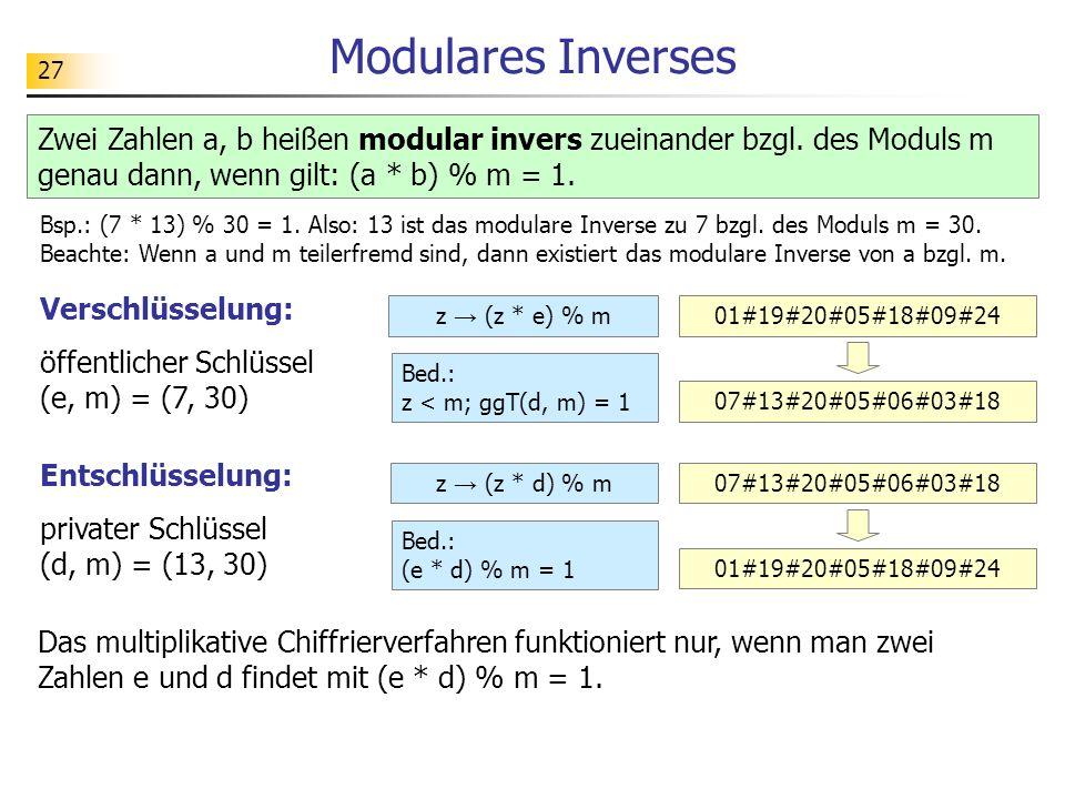 Modulares Inverses Zwei Zahlen a, b heißen modular invers zueinander bzgl. des Moduls m genau dann, wenn gilt: (a * b) % m = 1.