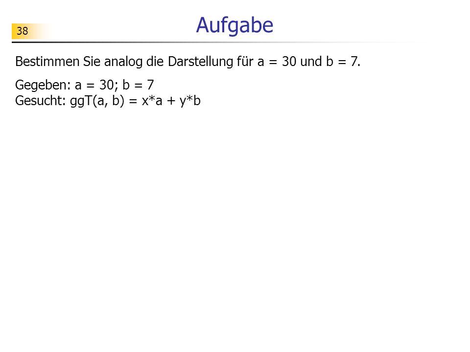 Aufgabe Bestimmen Sie analog die Darstellung für a = 30 und b = 7.