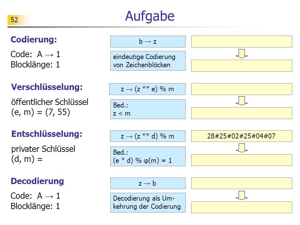 Aufgabe Codierung: Code: A → 1 Blocklänge: 1 Verschlüsselung: