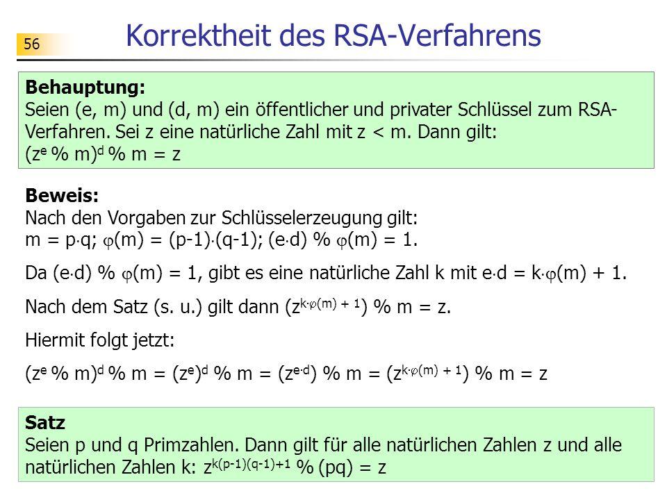 Korrektheit des RSA-Verfahrens