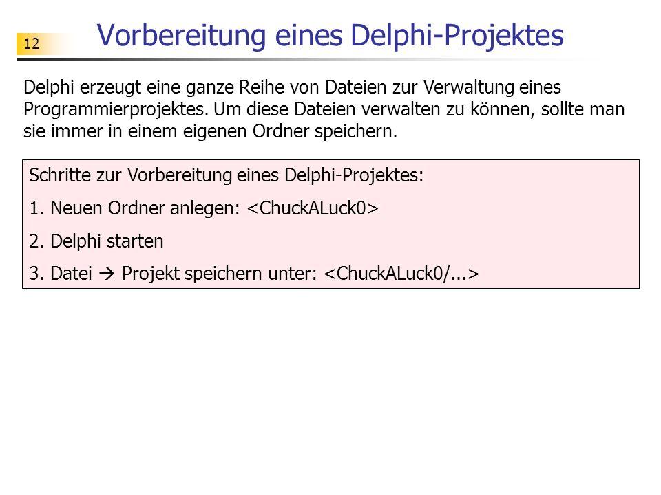 Vorbereitung eines Delphi-Projektes