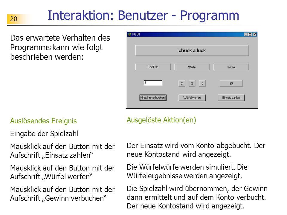 Interaktion: Benutzer - Programm