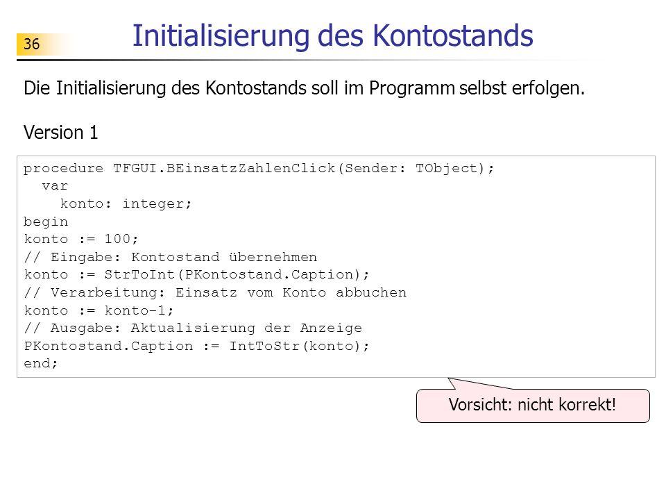 Initialisierung des Kontostands