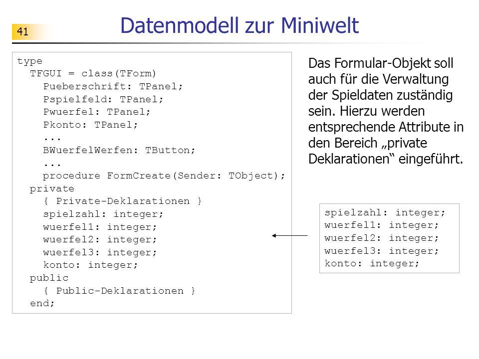 Datenmodell zur Miniwelt