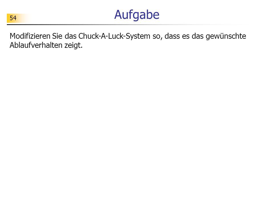 Aufgabe Modifizieren Sie das Chuck-A-Luck-System so, dass es das gewünschte Ablaufverhalten zeigt.