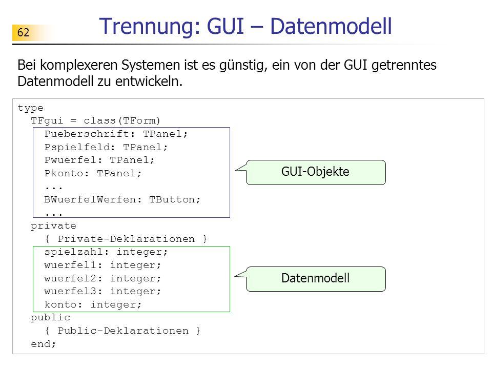 Trennung: GUI – Datenmodell
