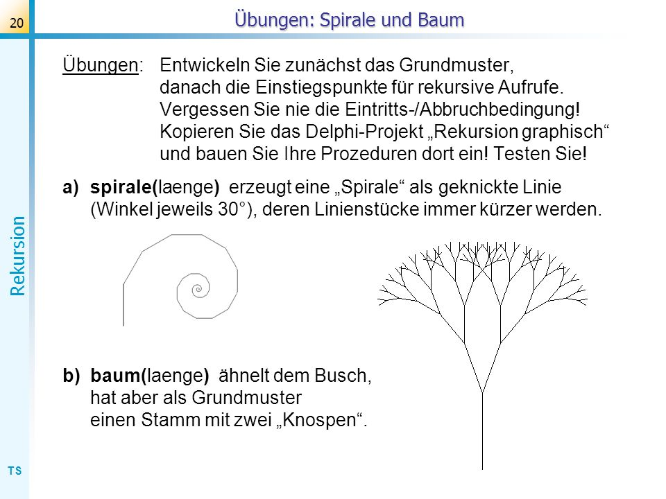 Übungen: Spirale und Baum