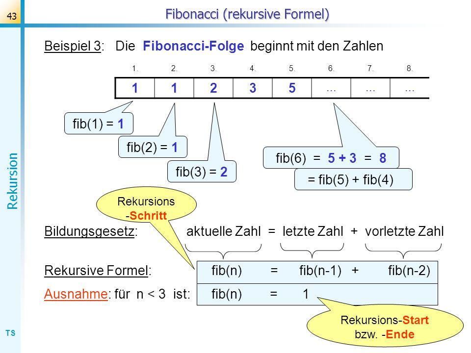 Fibonacci (rekursive Formel)