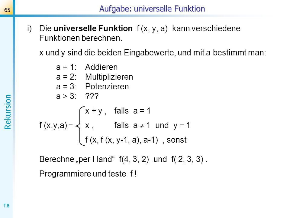 Aufgabe: universelle Funktion