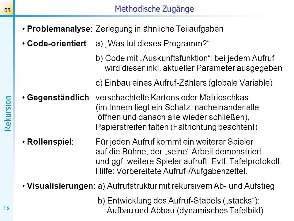 """Methodische Zugänge Problemanalyse: Zerlegung in ähnliche Teilaufgaben. Code-orientiert: a) """"Was tut dieses Programm"""