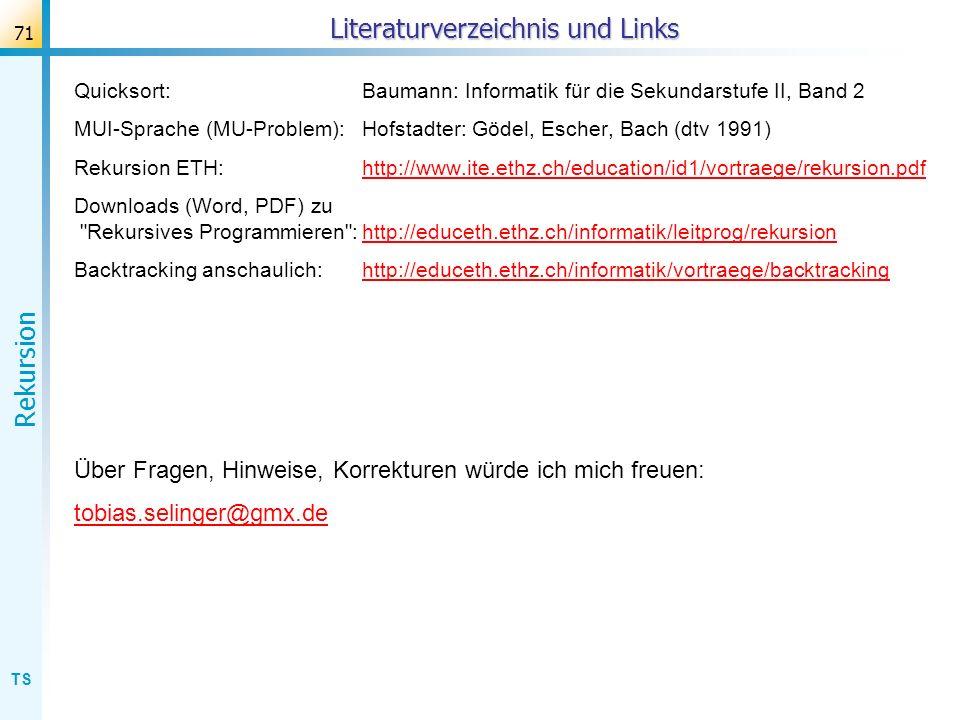 Literaturverzeichnis und Links