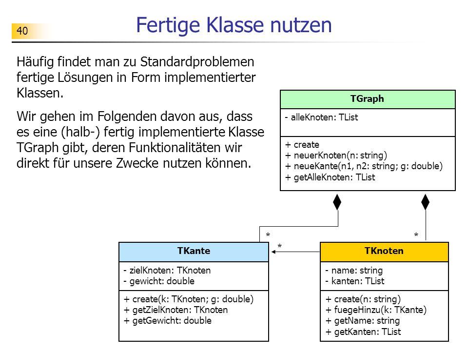 Fertige Klasse nutzen Häufig findet man zu Standardproblemen fertige Lösungen in Form implementierter Klassen.