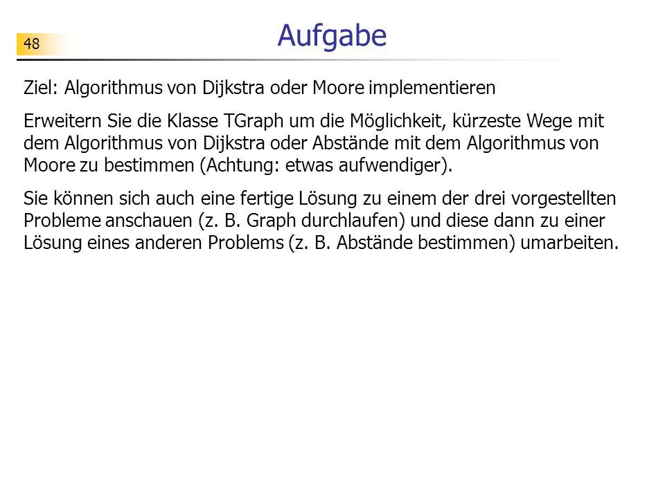 Aufgabe Ziel: Algorithmus von Dijkstra oder Moore implementieren
