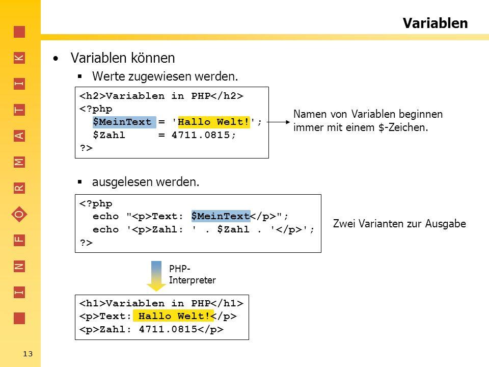 Variablen Variablen können Werte zugewiesen werden. ausgelesen werden.