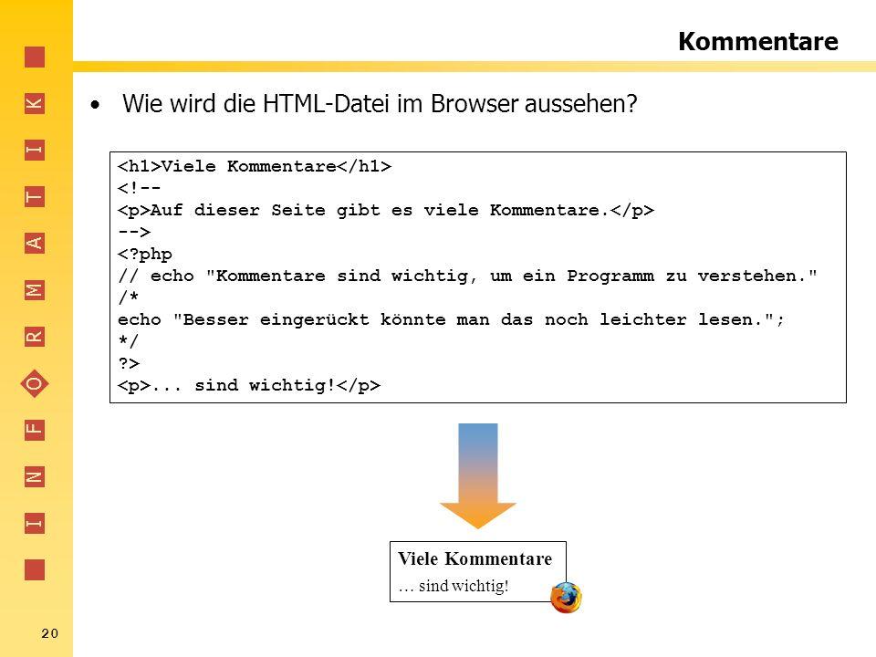 Wie wird die HTML-Datei im Browser aussehen