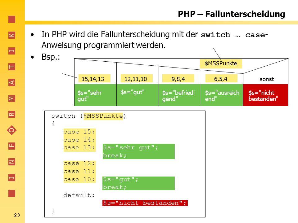 PHP – Fallunterscheidung