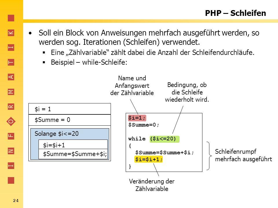 PHP – Schleifen Soll ein Block von Anweisungen mehrfach ausgeführt werden, so werden sog. Iterationen (Schleifen) verwendet.