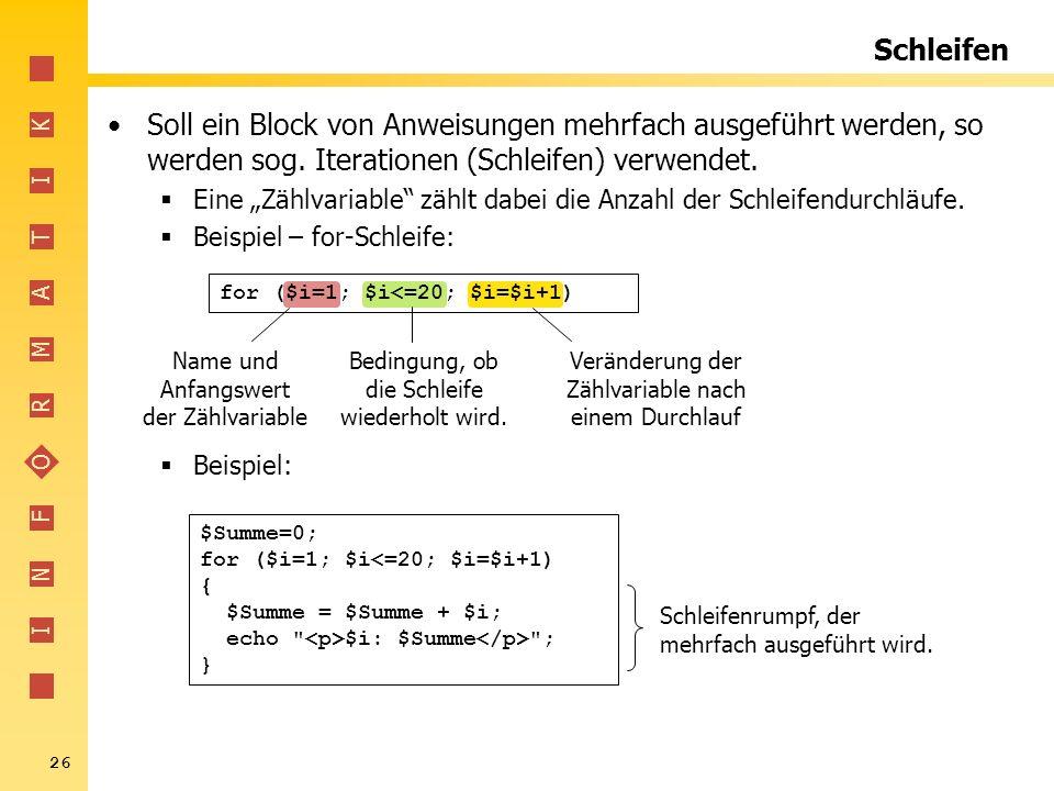 Schleifen Soll ein Block von Anweisungen mehrfach ausgeführt werden, so werden sog. Iterationen (Schleifen) verwendet.
