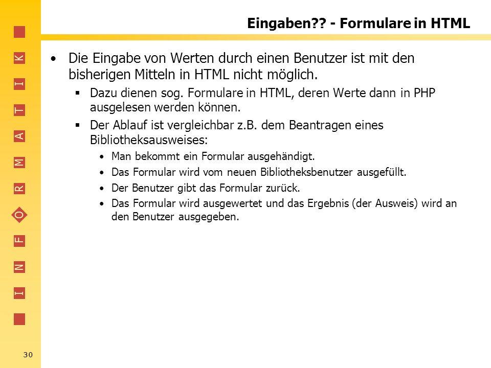Eingaben - Formulare in HTML