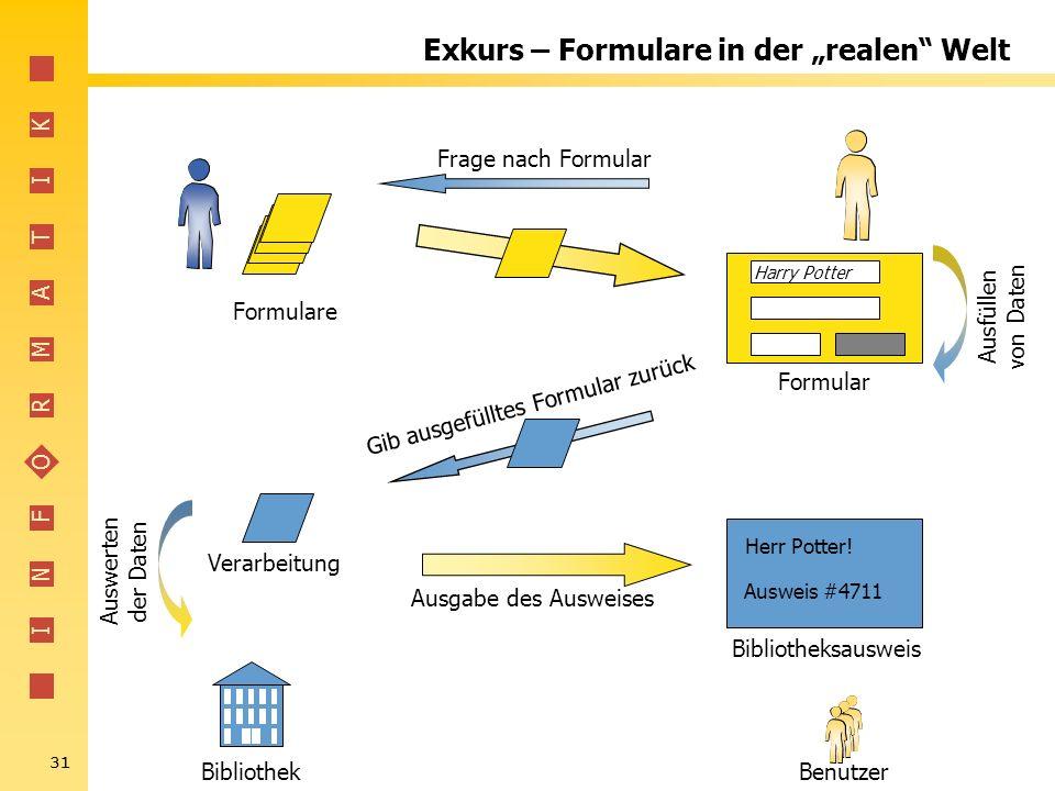 "Exkurs – Formulare in der ""realen Welt"