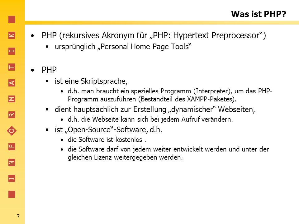 """PHP (rekursives Akronym für """"PHP: Hypertext Preprocessor )"""