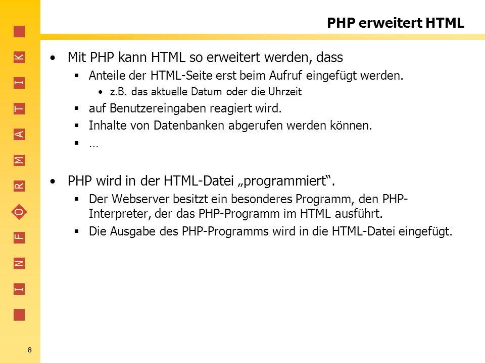 Mit PHP kann HTML so erweitert werden, dass