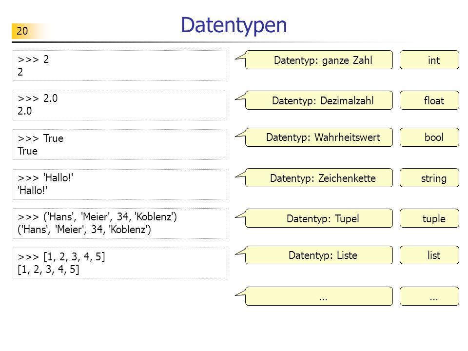 Datentypen >>> 2 2 Datentyp: ganze Zahl int >>> 2.0