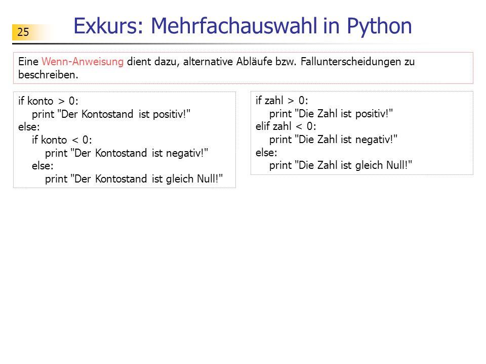 Exkurs: Mehrfachauswahl in Python