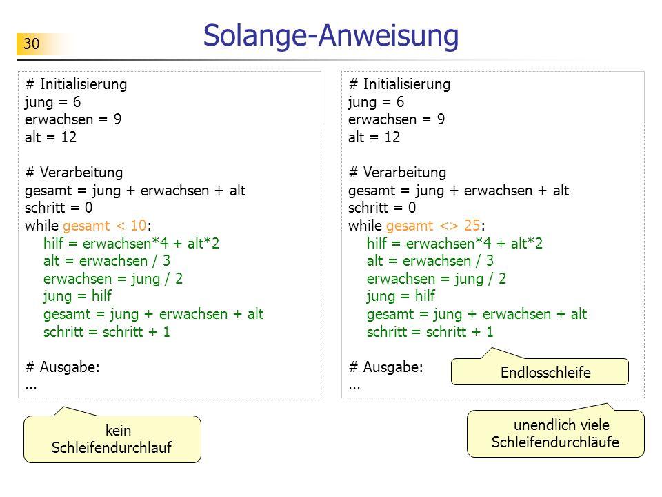 Solange-Anweisung # Initialisierung jung = 6 erwachsen = 9 alt = 12