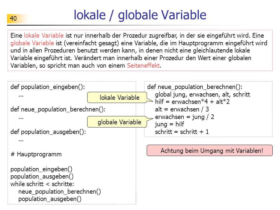lokale / globale Variable