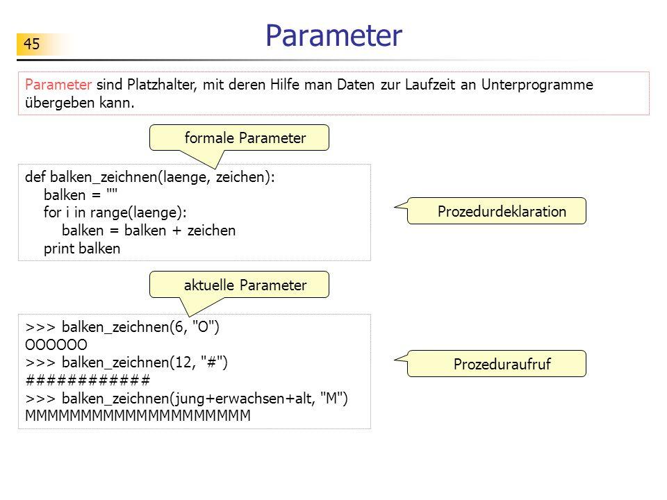 Parameter Parameter sind Platzhalter, mit deren Hilfe man Daten zur Laufzeit an Unterprogramme übergeben kann.
