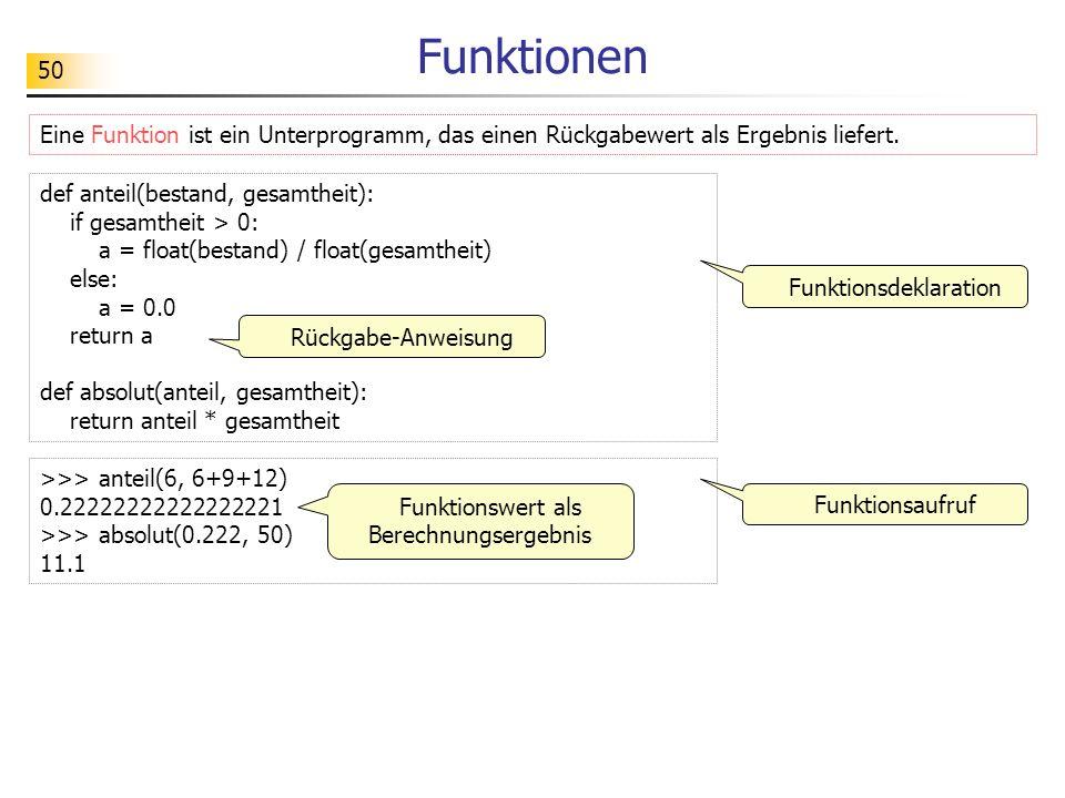 Funktionen Eine Funktion ist ein Unterprogramm, das einen Rückgabewert als Ergebnis liefert. def anteil(bestand, gesamtheit):