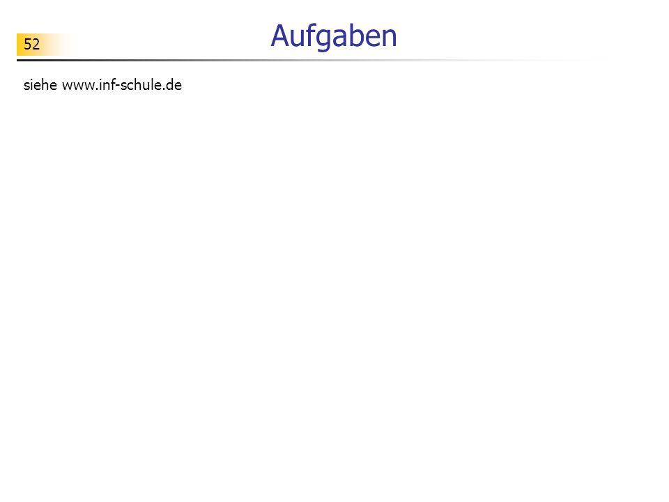 Aufgaben siehe www.inf-schule.de