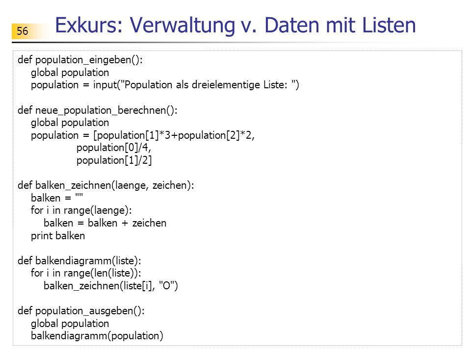 Exkurs: Verwaltung v. Daten mit Listen