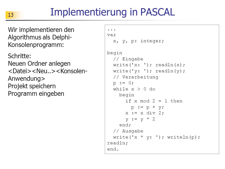 Implementierung in PASCAL